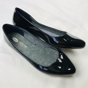 Dr. Scholl's Black Shiny Leather Point Toe Flats